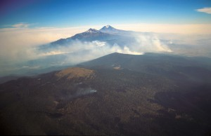 Forest fires on the slopes of Mount Ixtaccihuatl, Mexico.